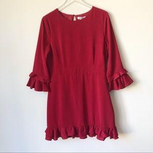 NWT BB Dakota Rouge Tiered Ruffle Trim Crepe Dress